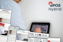 Tech PR photography and coverage montage for ePOS Hybrid