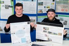 Winners Liam Keeble (left) and Easton Arthur of CALA Homes Student Partnership Award in a property PR photo