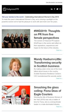 International Women's Day 2019 PR Newsletter by Edinburgh PR agency, Holyrood PR