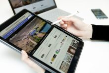 HPR stock image of a tablet, laptop and phone. Taken by Seb Regnier Scottish PR agency