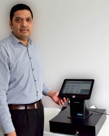 Tech PR photography of Bhas Kalangi and the ePOS Hybrid software