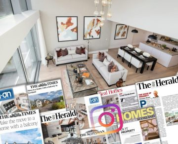 Image shows a montage of press and social media coverage for The Crescent by CALA Homes - with the backdrop of the luxury show apartment | Property PR