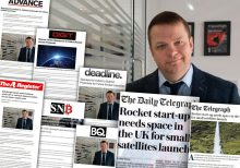 Skyrora has achieved widespread press acclaim in its call out to potential launch sites for its next three rocket tests - with coverage in likes of Telegraph and Register showing in a collage, with Volodymyr Levykin | Tech PR in action