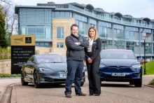 PR photography shows David Pickles, Managing Director with Jorro Ltd and Stacy Macmillan, Sales Consultant at CALA Homes outside The Crescent at Donaldson's