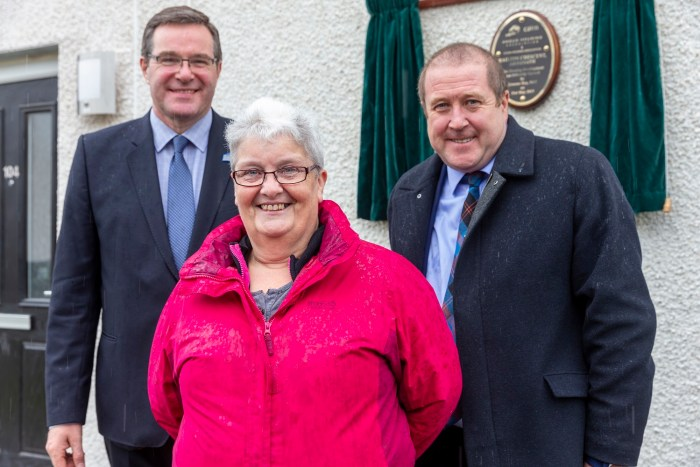 Property PR photography of Graeme Day MSP, Jason MacGilp, Cairn Housing Group Chief Executive and Hazel Farquhar, Chair of Angus Housing Association as they open affordable housing in Arbroath
