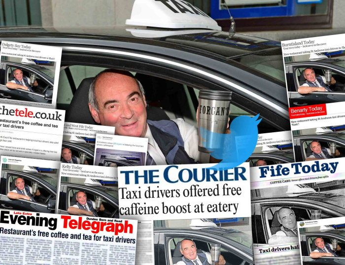 a montage of pub and restaurant pr coverage for St Andrews venue, forgans, who are providing cabbies with free tea and coffee