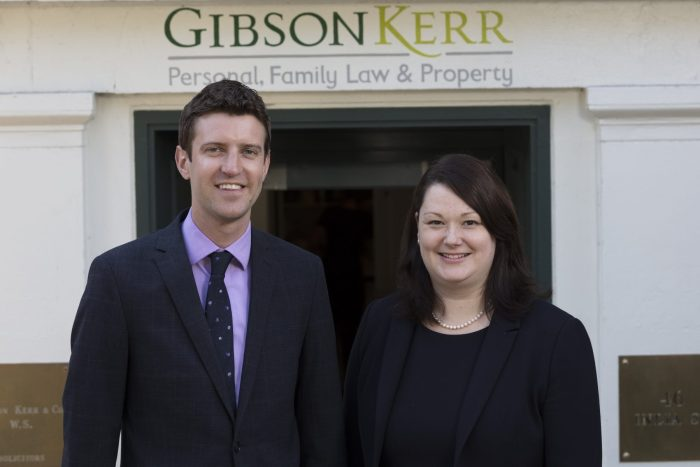 Legal PR photograph for Gibson Kerr of (L t R) Stuart Millar and Caroline MacBeath