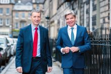PR photography of the partners at Johnston Financial involved in a management buyout