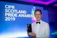 PR photograph of Holyrood PR Account Director Chris Fairbairn at CIPR PRide Awards 2019