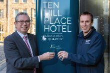 Hotel PR photography of Scott Mitchell, Managing Director at Surgeons Quarter, and Scott Fraser, the Corporate Regional Affairs Manager from Scottish Water
