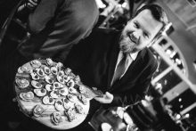 Mark presenting an array of canapes at the Pier Brasserie launch event | Restaurant PR