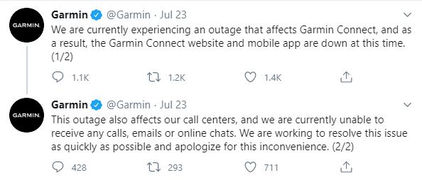 Garmin's tweet following its system outage | PR crisis