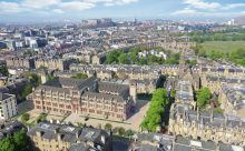 CGI image of Boroughmuir by CALA from an aerial view, showing the courtyard passageways