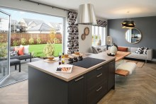 Property PR photography CALA Homes Queenswood, The Macrae interior (kitchen to family area) in Linlithgow