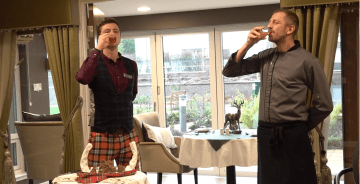 Social care PR photography James McDiarmid, Lifestyle Coordinator addressing the haggis with Cramond Residence chef, Cramond Residence.