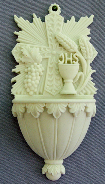 """A beautiful First Communion font with grains of wheat and chalice in white alabaster, 6"""". Made in Italy."""
