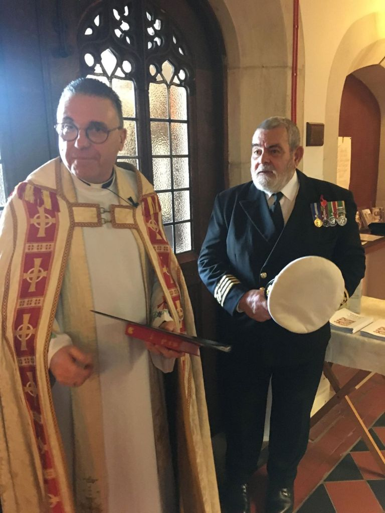 Blessing of new Standard with Canon Andrew Capt Paul Compton