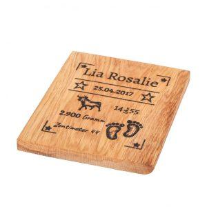 Geburtstafel Gravur auf Holz