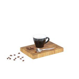 Espressotablett Stirnholz schwarze Tasse