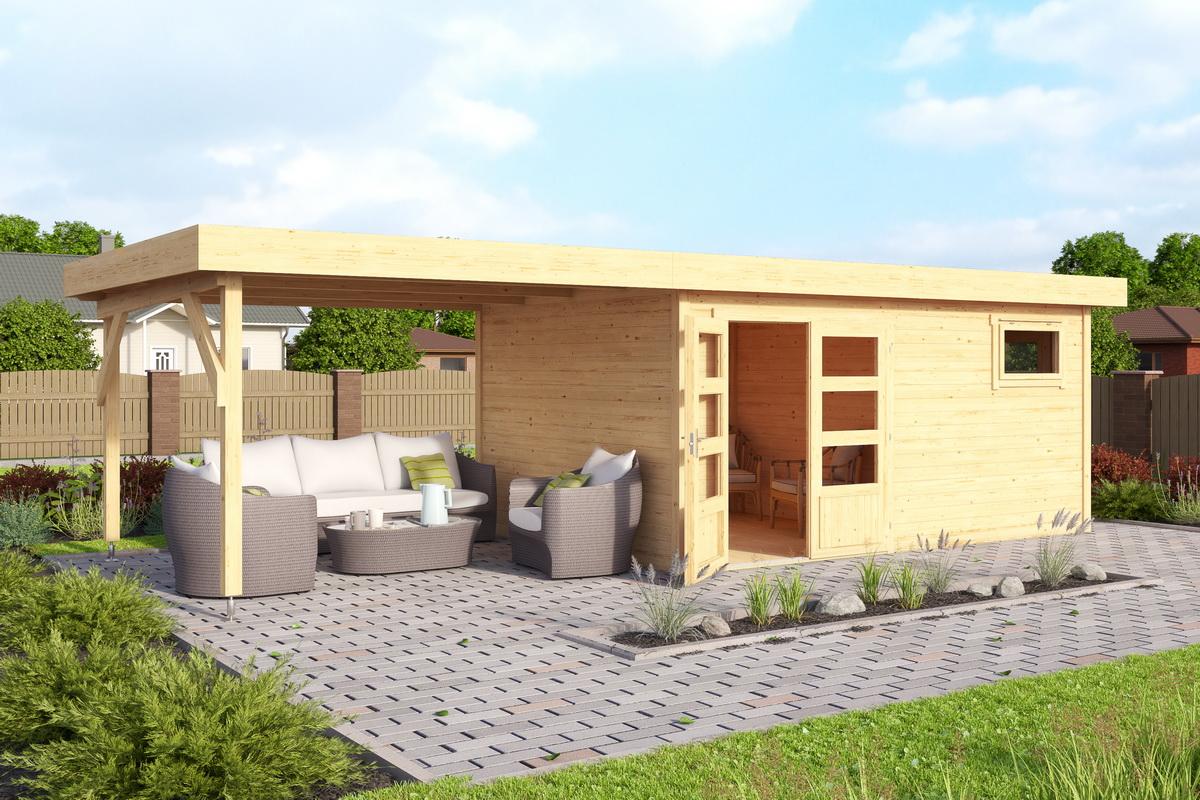2-Raum Haus 420X280Cm 40Mm Bohlen Mit Boden Mit Aufstellfenster