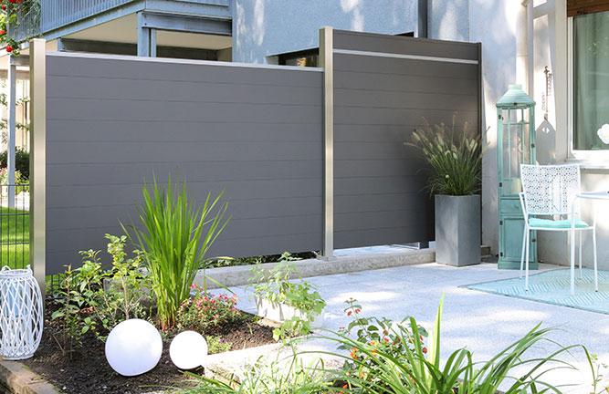 Sichtschutzzaun Stecksystem Aluminium, Einzelprofile, anthrazit, Lichtleiste