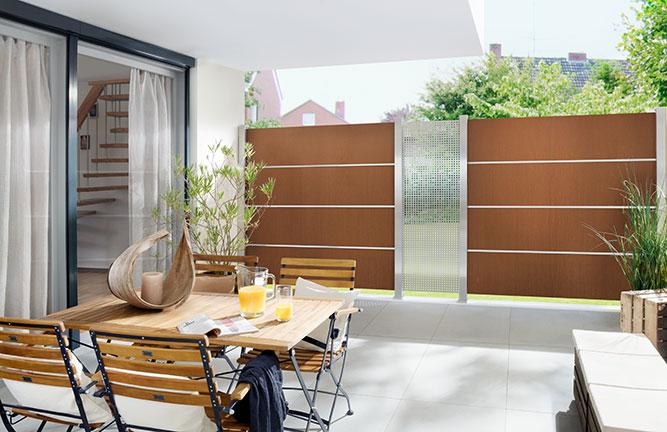 Sichtschutzzaun System Board XL Stahl, rost, Edelstahlgitter Gamma