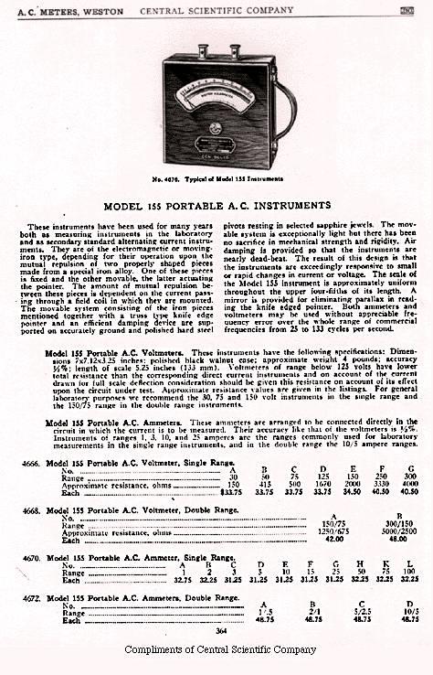 Weston 155 AC Voltmeter, ca. 1922
