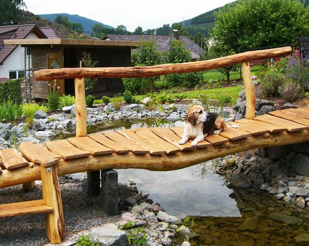 Gartenbrücke Robinienholz natürlich gewachsen