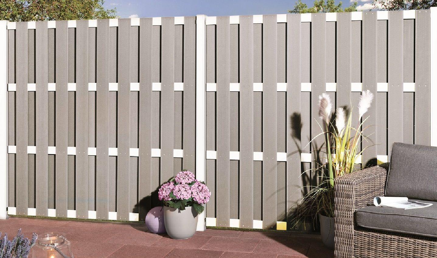 Sichtschutz Jumbo Wpc Alu Design Grau