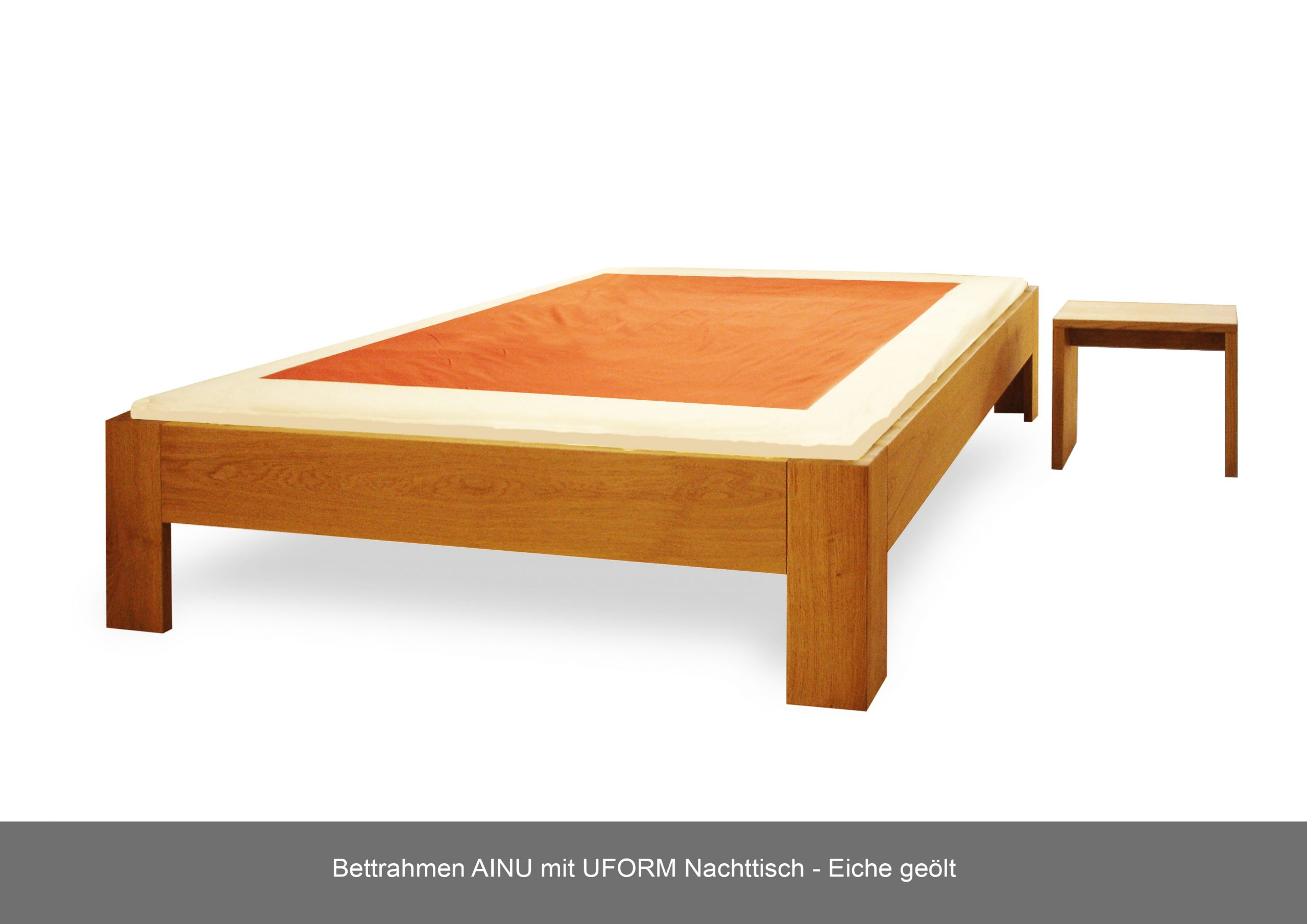 Bettrahmen AINU Massivholz Nachttisch U-Form Eiche geölt
