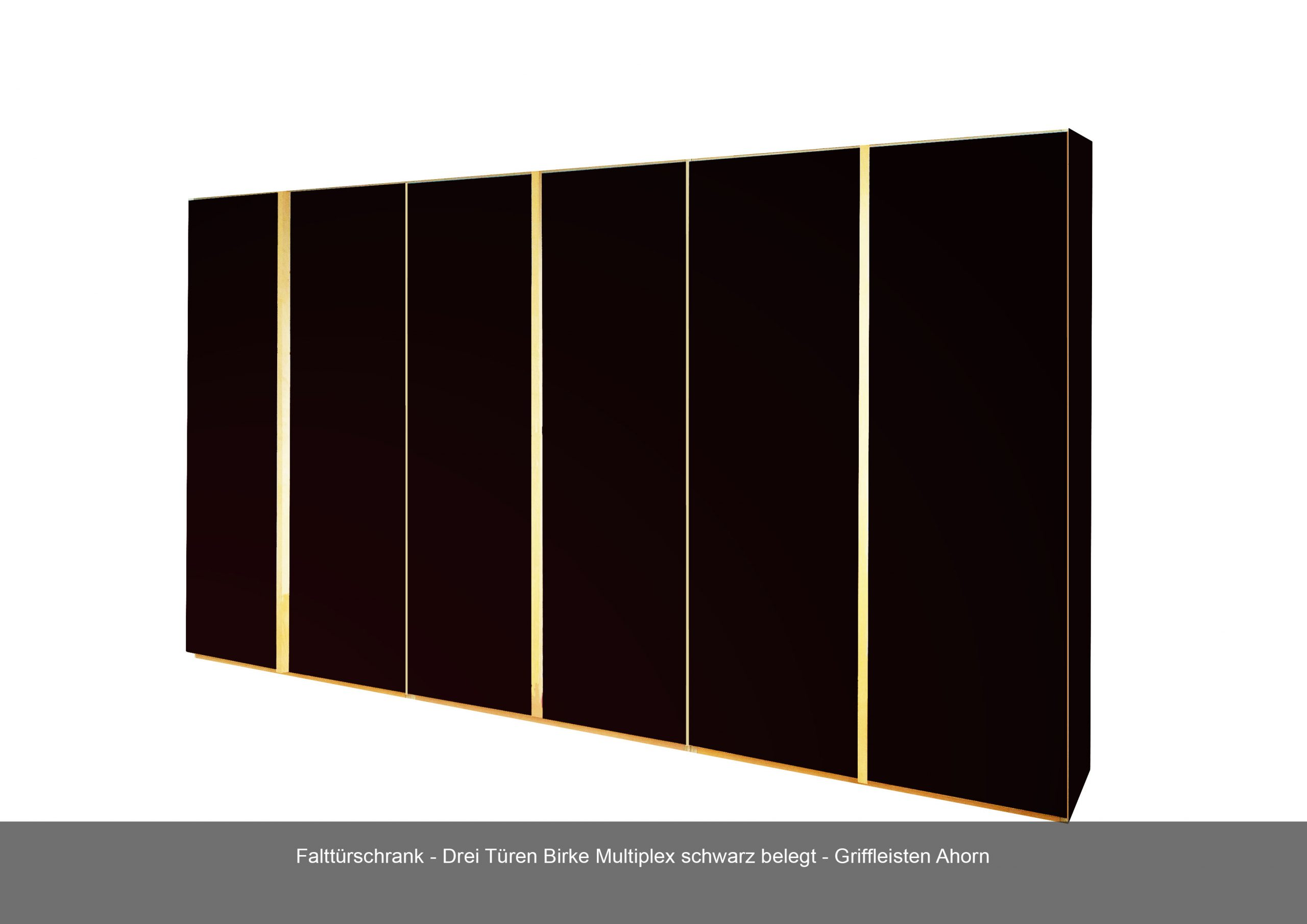 Falttürschrank dreitürig Griffleiste Birke Multiplex Ahorn