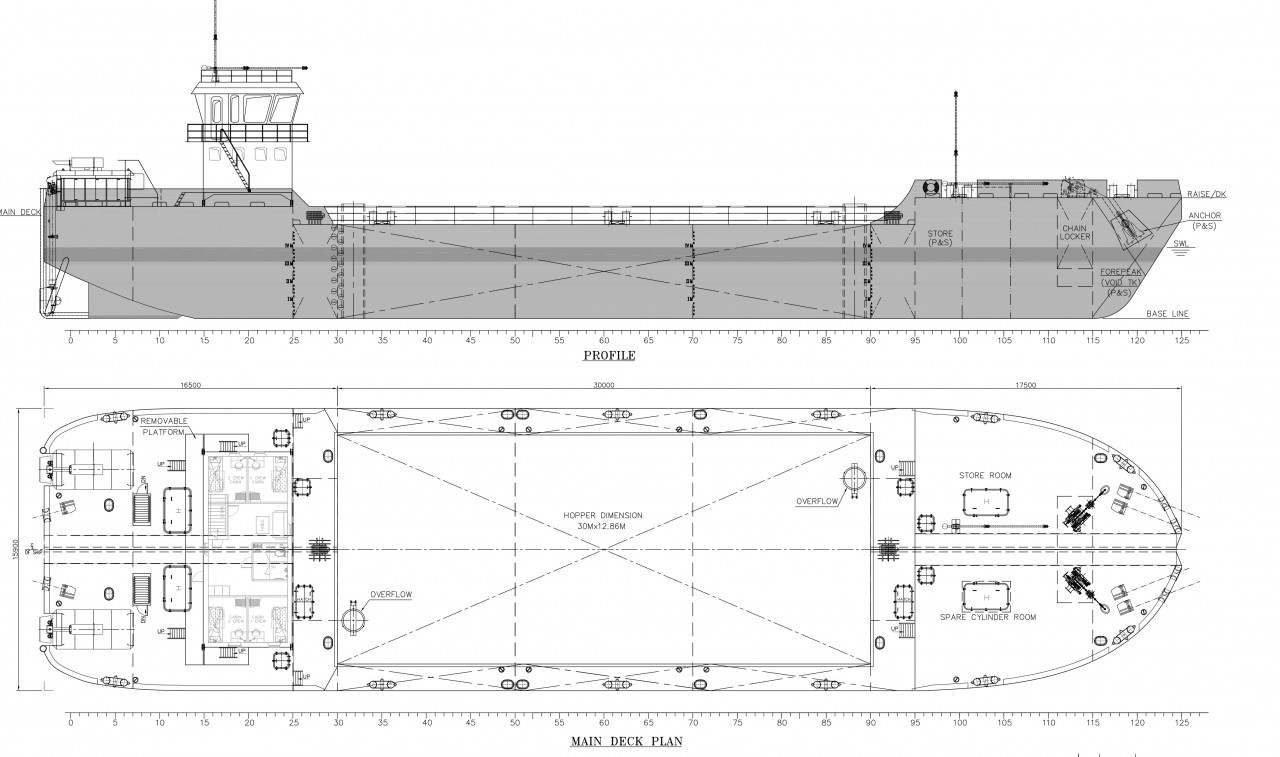 hight resolution of 1500 cum barge with small accommodation upon clients request made short wide