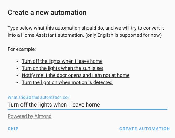 Home Assistant natural language automation