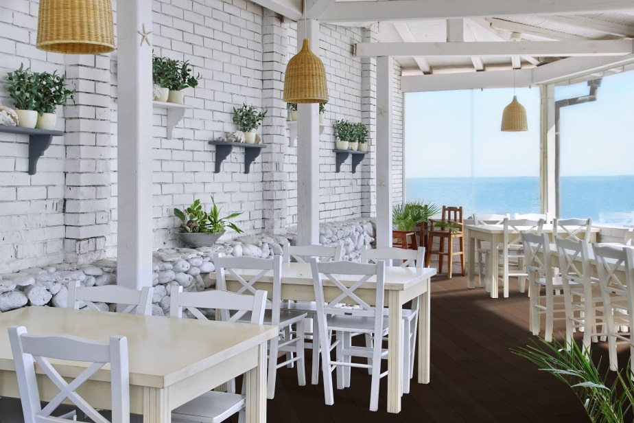 Sea View Restaurant Interior. Background for text or image