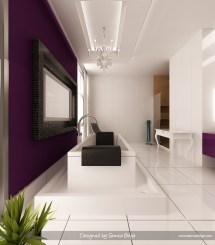 Purple and White Bathroom
