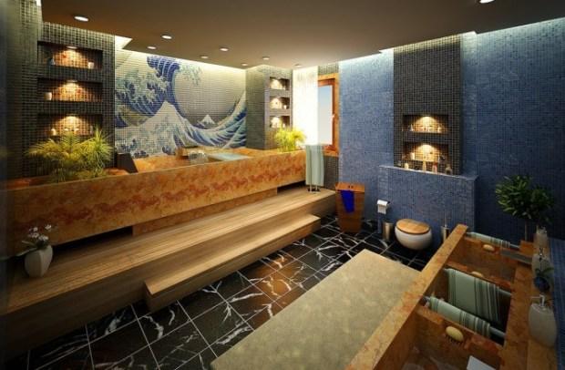 kanagawa print tiled bathroom