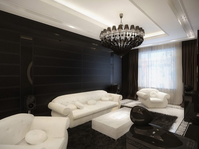 white and black living room