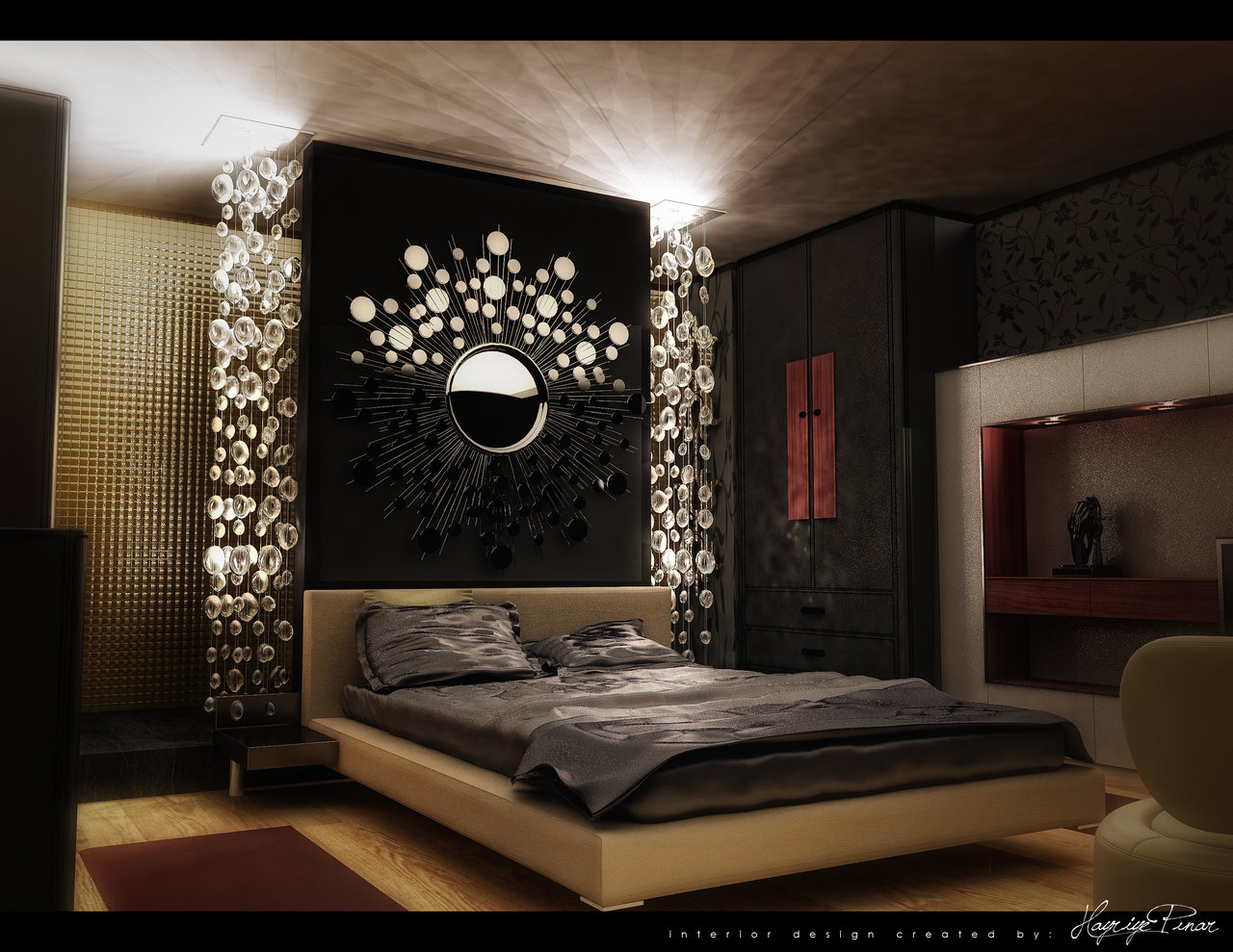 Contemporary Bedroom Design Ideas With Purple Wall Decorating