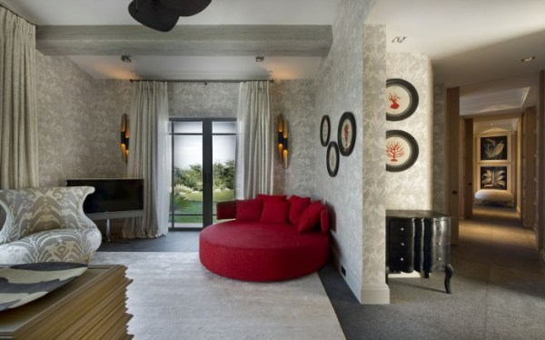 red accented hall