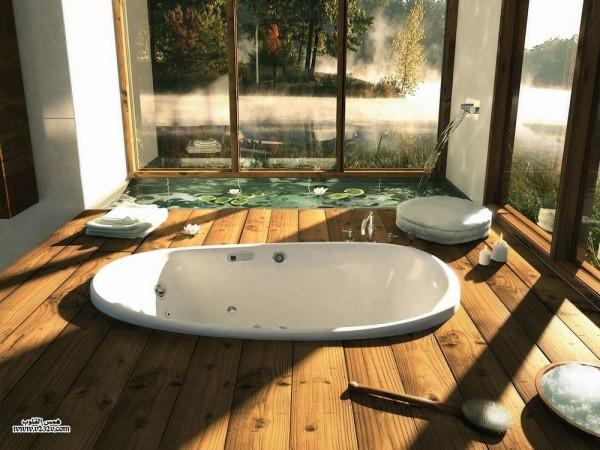 Banho Houzz-madeira com banheira de imersão e lagoa característica de água no interior