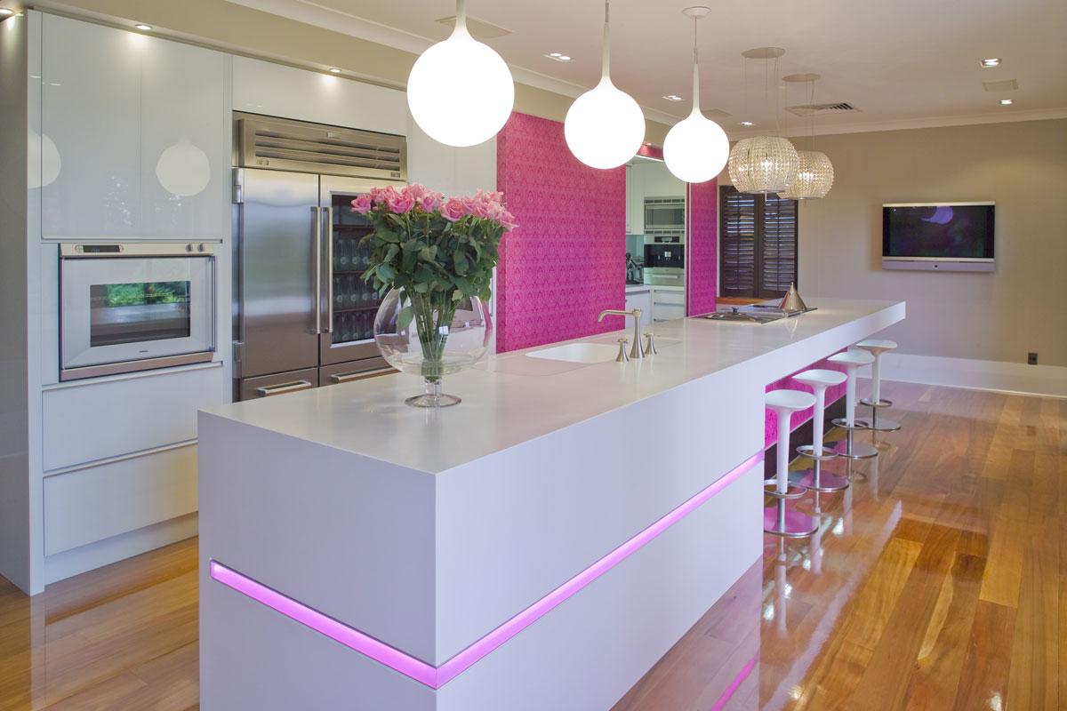 pink countertops kitchen top of the line appliances decoração arquitetos da felicidade