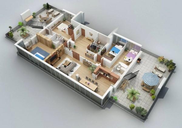 double patio apartment