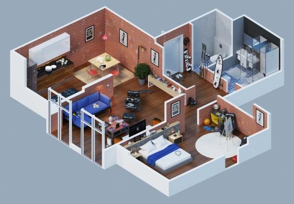 larger brick wood apartment