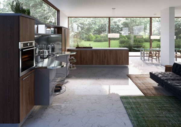 For those chefs that prefer a more subdued look, this kitchen moves away from the yellows and reds and keeps things a cool concrete gray.