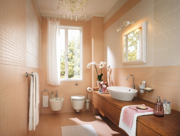 Peach Feminine bathroom decor