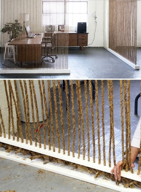 Nautical and modern, this rope room divider is actually a fairly easy DIY.