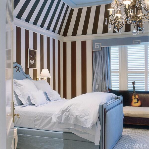 [clip]ブルーグレーxストライプ 寝室