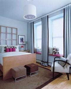 [clip]ブルーグレーx茶+ピンク 寝室