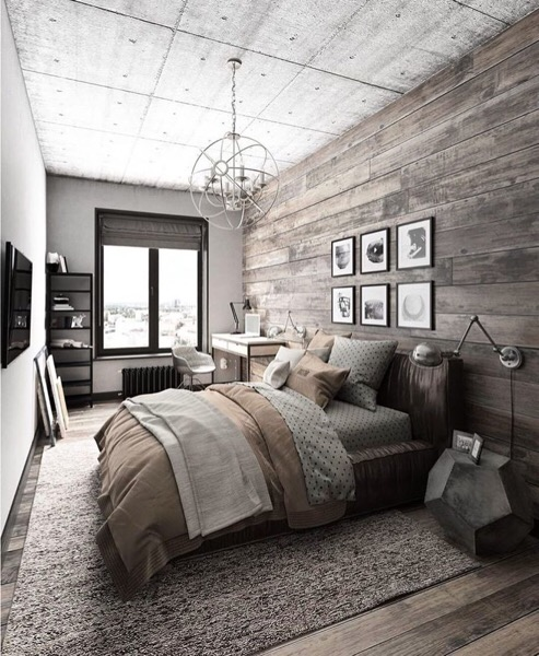 clip:コンクリートと古材の寝室