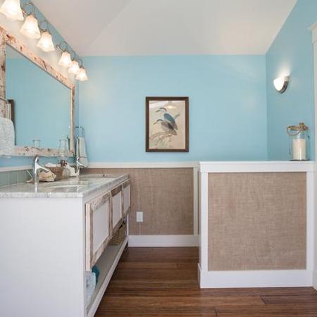 HOME DZINE Bathrooms  Burlap wall panels for a bathroom